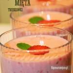Jogurt z truskawkami i miętą