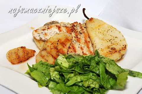 Piersi kurczaka grillowane z gruszką