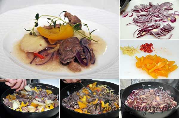 Pierś z gęsi marynowana w wódce, smażona z imbirem, chili, cebulą, słodką papryką i melonem