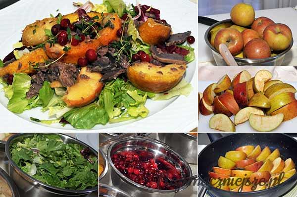 Sałatka z gotowanymi gęsimi żołądkami, smażonymi jabłkami i żurawiną
