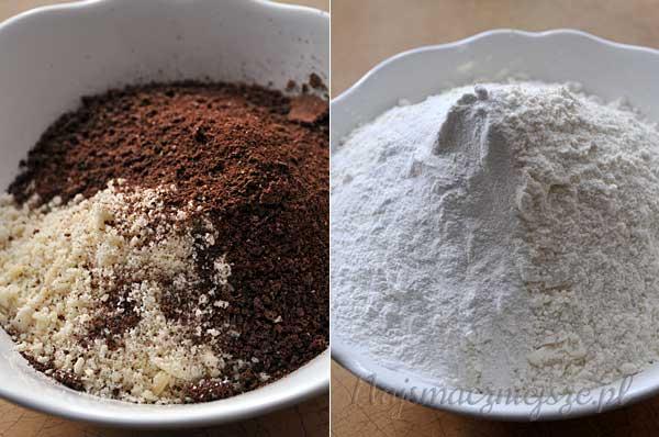 Czekolada, migdały, mąka