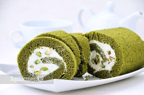 Rolada z zieloną herbatą matcha