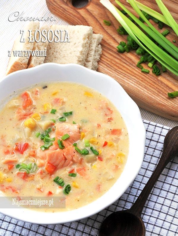 Chowder z łososia z warzywami