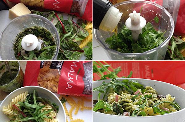 Przygotowanie makaronu z pesto