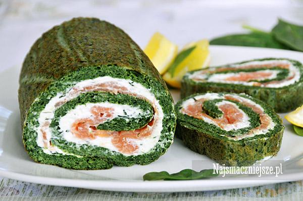 Rolada ze szpinakiem i wędzonym łososiem