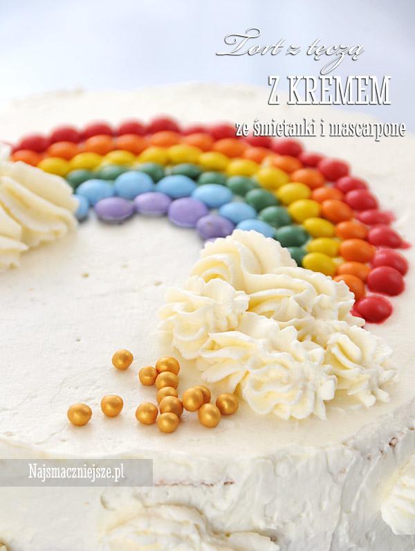 Tort z kolorową tęczą