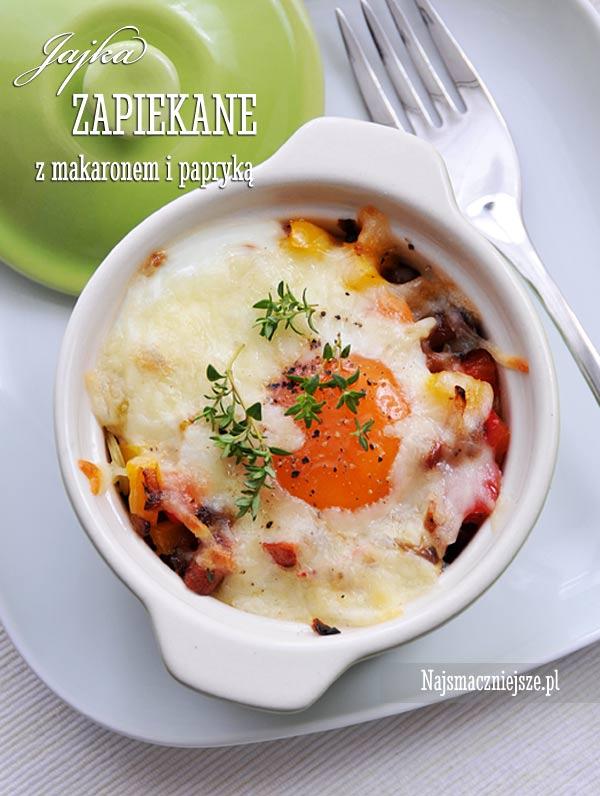 Jajka w kokilkach z makaronem