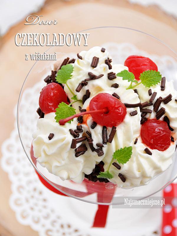 Deser czekoladowy z wiśniami